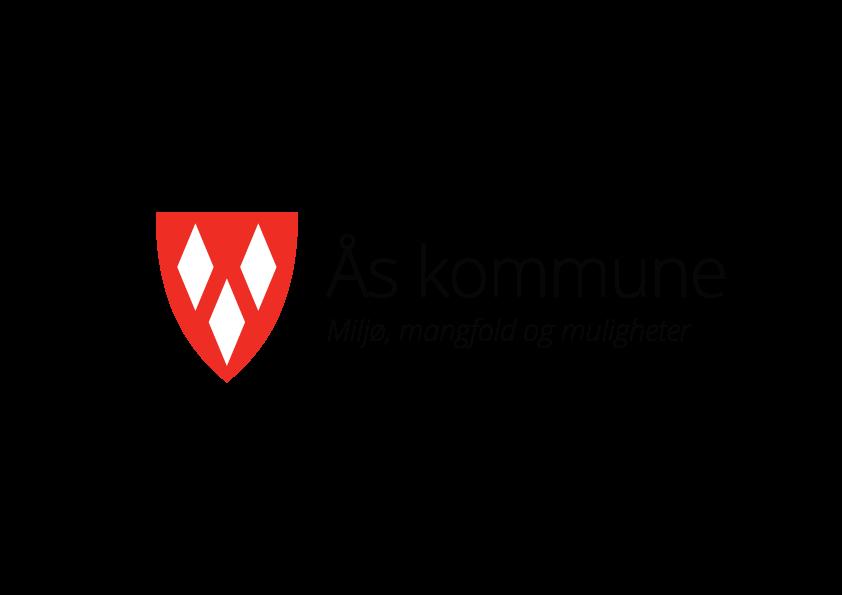 Kommunevåpen, liggende, sort tekst med slagord. PNG-format for bruk på web