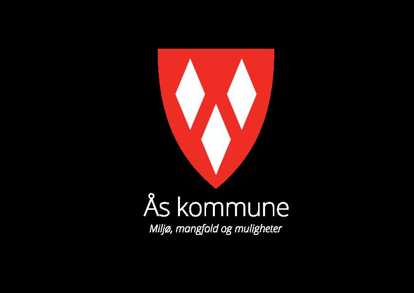 Kommunevåpen, stående, hvit tekst med slagord. PNG-format for bruk på web