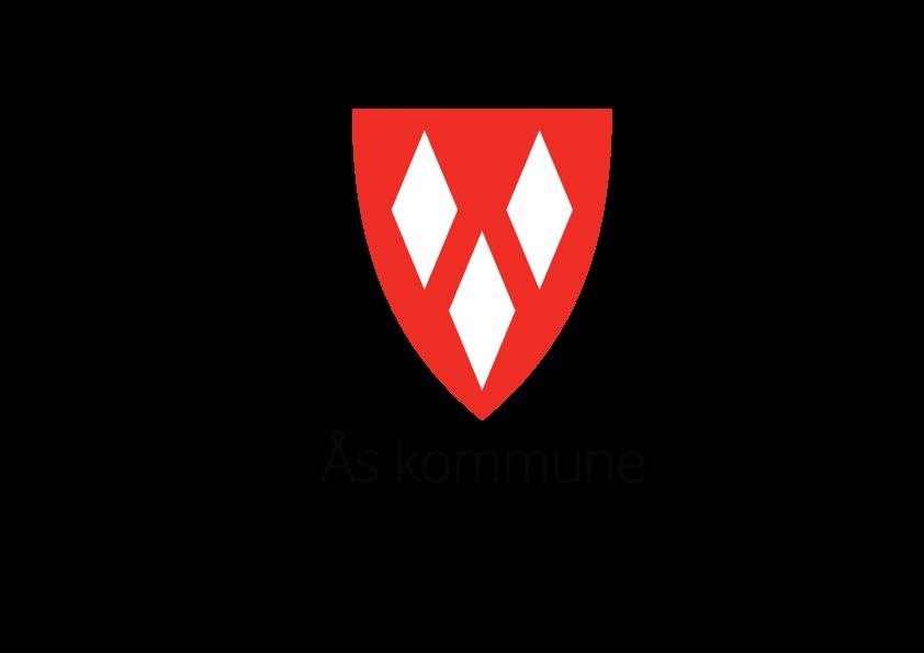 Kommunevåpen, stående, sort tekst med slagord. PNG-format for bruk på web