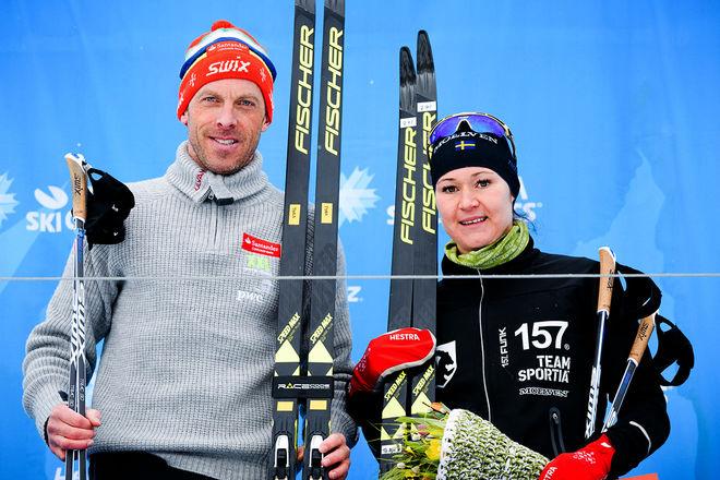 ANDERS AUKLAND (tv) och Britta Johansson Norgren vann Årefjällsloppet i lördags efter spännande avslutningar i Edsåsdalen. Foto: MAGNUS ÖSTH