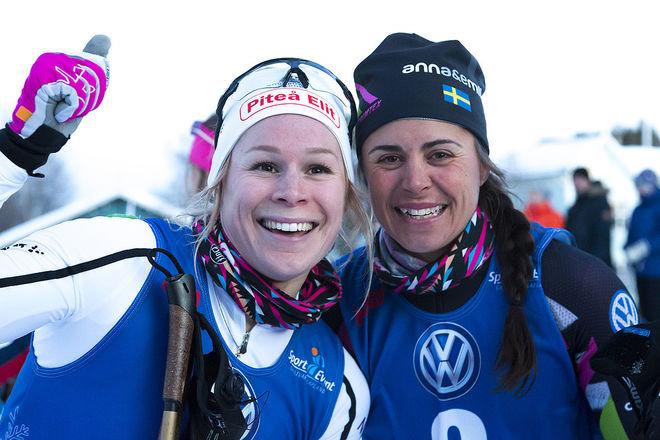 JENNIE ÖBERG (tv) och Anna Haag jublar efter en stark uppvisning i Gällivare under torsdagskvällen. Foto: YNGVE JOHANSSON, Imega Promotion