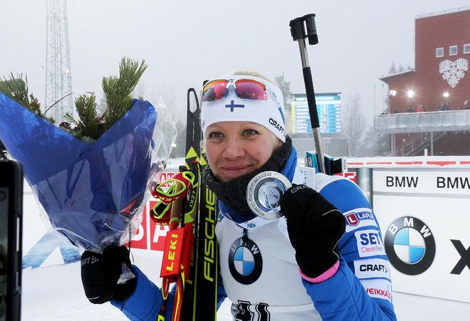 KAISA MÄKÄRÄINEN kan åkta snabbt också utan gevär. Hon vann finska mästerskapen över 5 km fristil och slog Krista Pärmäkoski. Foto/rights: MARCELA HAVLOVA/sweski.com