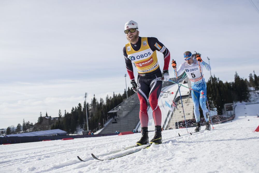 11.03.2017, Oslo, Norway (NOR):Martin Johnsrud Sundby (NOR), Iivo Niskanen (FIN), (l-r) - FIS world cup cross-country, mass men, Oslo (NOR). www.nordicfocus.com. © Manzoni/NordicFocus. Every downloaded picture is fee-liable.