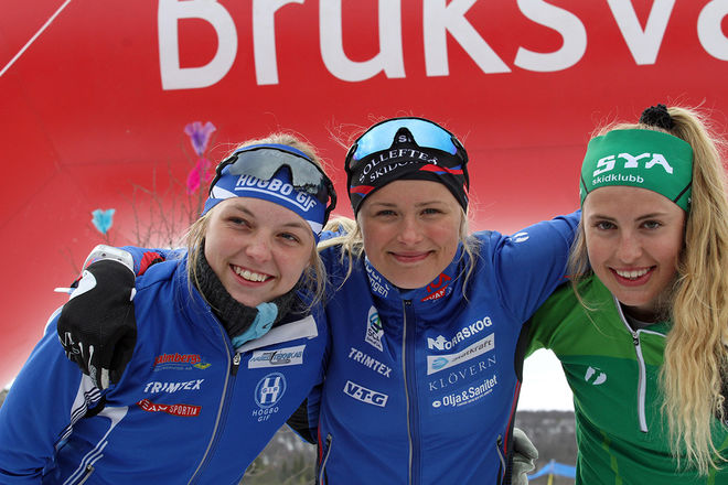 TOPPTRIoN i D17-18 i Fjälltoppsloppet. Från vänster: tvåan Louise Lindström, Högbo, segraren Frida Karlsson och trean Kristina Axelsson, Sya SK. Foto: THORD ERIC NILSSON