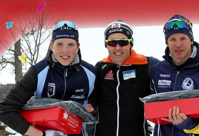 NORSK SEGER i H17-18 genom Erik Kjøl Tornes (mitten) före William Poromaa, Johannisberg (vänster) och Leo Johansson, Skillingaryd. Foto: THORD ERIC NILSSON