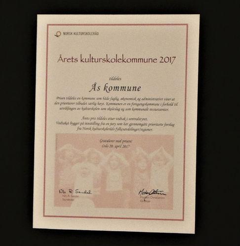 Diplom Kulturskolerådets pris 2017