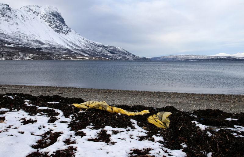 Strand marin avfall-lite