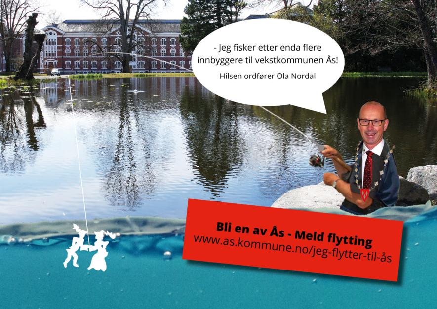 Meld flytting - bli en av Ås! #studentkommune #blienavås (Fotomontasje: Ås kommune)