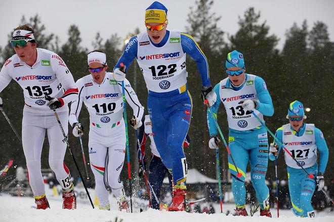 GABRIEL THORN - här i sin tidigare dräkt från Bengtsfors BoIS - vann nu Björnjakten i Älvdalen i spurtuppgörelse mot to nya klubbkompisar i SK Bore. Filip Danielsson (längst till höger) blev tvåa. Foto/rights: MARCELA HAVLOVA/KEK-stock