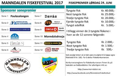 Sonesponsorer 2017 og hovedpremier fiskekonkurranse