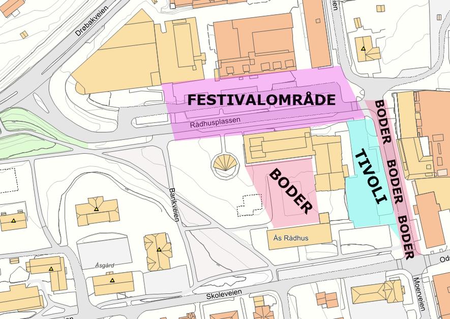 Kart over bruk av sentrum under Ås Mart
