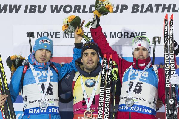 15.12.2016, Nove Mesto, Czech Republic (CZE): Anton Shipulin (RUS), Martin Fourcade (FRA), Emil Hegle Svendsen (NOR), (l-r) - IBU world cup biathlon, sprint men, Nove Mesto (CZE). www.nordicfocus.com. © Manzoni/NordicFocus. Every downloaded picture is fe NordicFocus