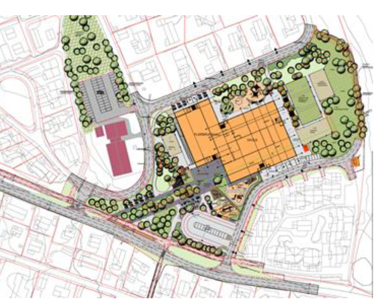 Nye Rustad skole illustrasjon området