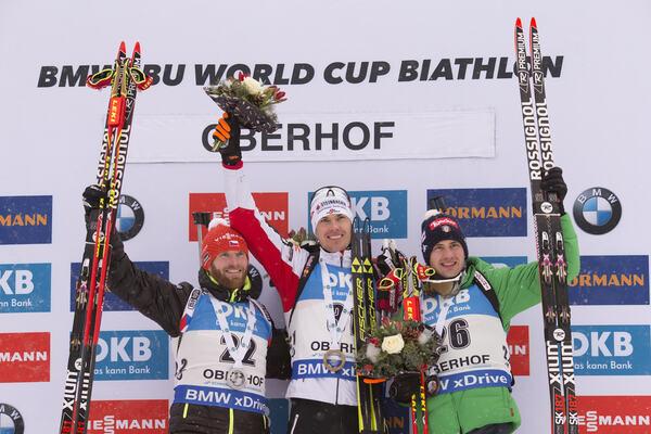 05.01.2017, Oberhof, Germany (GER):Michal Slesingr (CZE), Julian Eberhard (AUT), Dominik Windisch (ITA), (l-r) - IBU world cup biathlon, sprint men, Oberhof (GER). www.nordicfocus.com. © Manzoni/NordicFocus. Every downloaded picture is fee-liable. NordicFocus