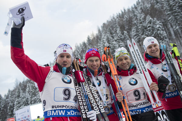 11.01.2017, Ruhpolding, Germany (GER):Emil Hegle Svendsen (NOR), Henrik L'abee-Lund (NOR), Ole Einar Bjoerndalen (NOR), Vetle Sjastad Christiansen (NOR), (l-r), (l-r) - IBU world cup biathlon, relay men, Ruhpolding (GER). www.nordicfocus.com. © Manzoni NordicFocus