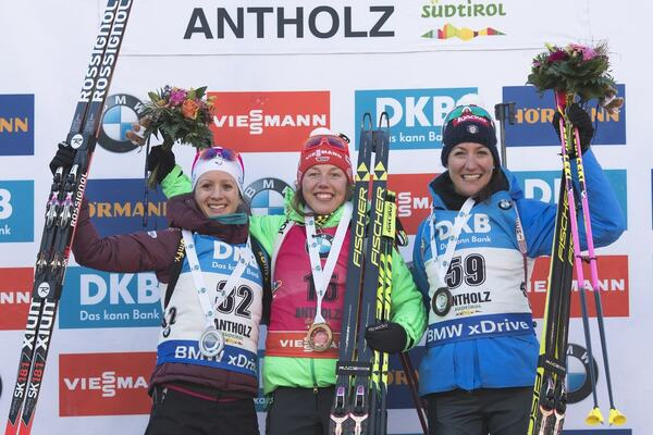 19.01.2017, Antholz, Italy (ITA):Anais Chevalier (FRA), Laura Dahlmeier (GER), Alexia Runggaldier (ITA), (l-r) - IBU world cup biathlon, individual women, Antholz (ITA). www.nordicfocus.com. © Manzoni/NordicFocus. Every downloaded picture is fee-liable NordicFocus