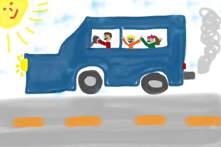 Barn i buss