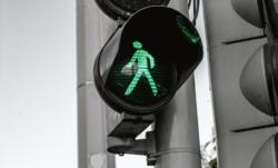 Veg og trafikk grønn mann