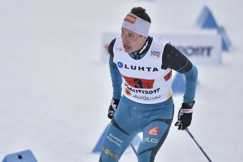 26.02.2017, Lahti, Finland (FIN):Laurent Muhlethaler (FRA) - FIS nordic world ski championships, nordic combined, team HS100/4x5km, Lahti (FIN). www.nordicfocus.com. © Thibaut/NordicFocus. Every downloaded picture is fee-liable.