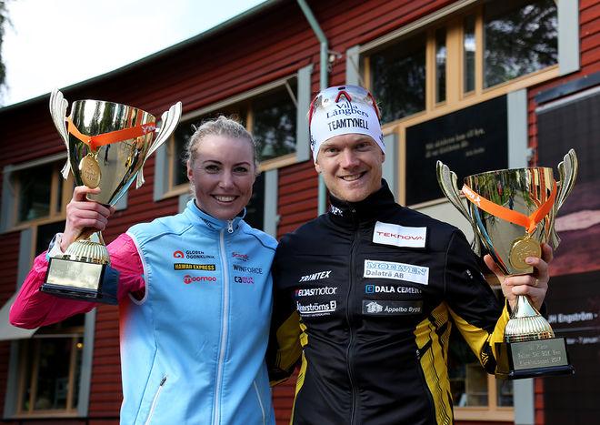 MARIA GRÄFNINGS och Jens Eriksson vann dam- respektive herrklassen i den första utgåvan av Klarälvsloppet på rullskidor mellan Uddeholm och Karlstad. Foto/rights: KJELL-ERIK KRISTIANSEN/KEK-photo