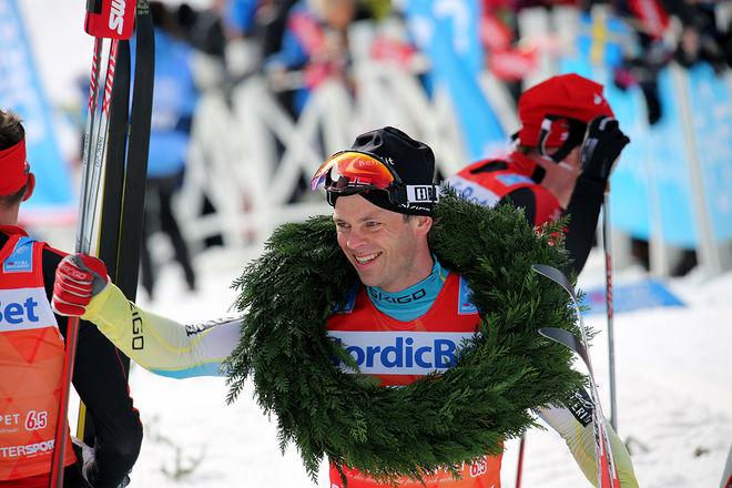 JOHAN KJØLSTAD jublar efter segern i Årefjällsloppet i Edsåsdagen 2016. Foto/rights: MARCELA HAVLOVA/KEK-photo
