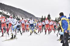 12.02.2017, Morez, France (FRA):robin Duvillard (FRA), adrien Mougel (FRA), Benoit Chauvet (FRA) - FIS Marathon Cup LaTransjurassienne, Morez (FRA). www.nordicfocus.com. © Thibaut/NordicFocus. Every downloaded picture is fee-liable.
