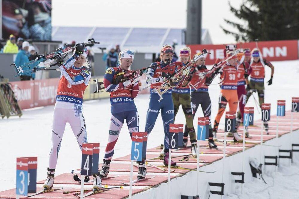 19.03.2017, Oslo, Norway (NOR):Kaisa Makarainen (FIN), Marte Olsbu (NOR), Gabriela Koukalova (CZE), (l-r) -  IBU world cup biathlon, mass women, Oslo (NOR). www.nordicfocus.com. © Manzoni/NordicFocus. Every downloaded picture is fee-liable.