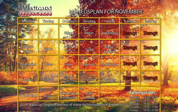 Månedsplan november 2017 Midtgard
