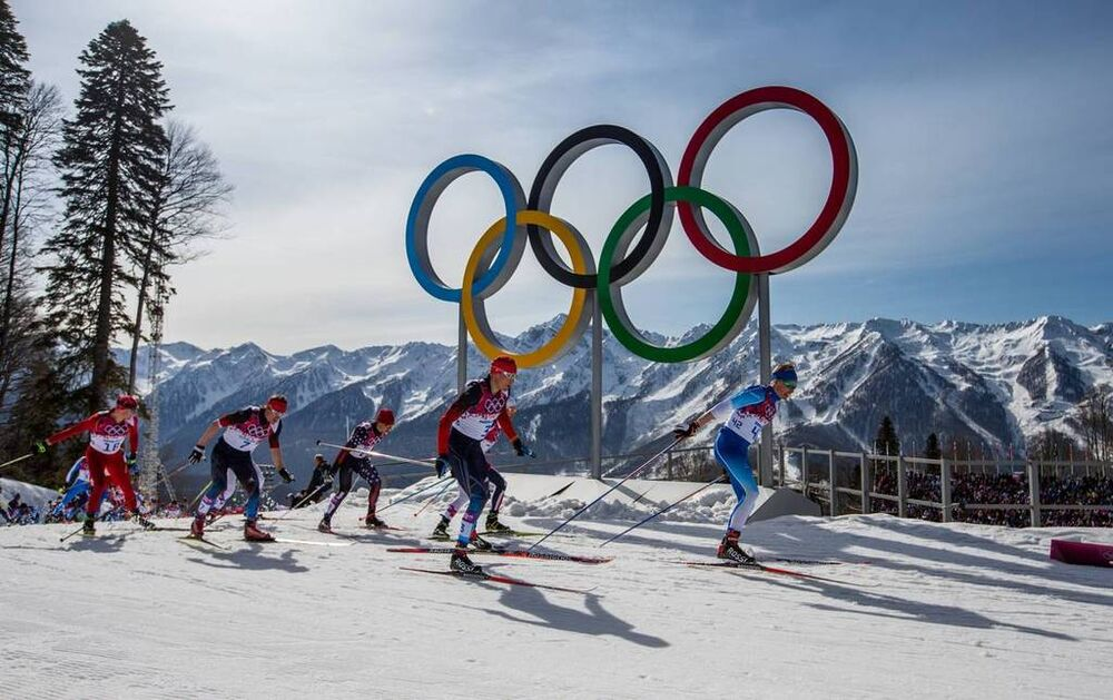 23.02.2014, Sochi, Russia (RUS): Iivo Niskanen (FIN), Rossignol, KV+, Rottefella, Craft followed by Alexander Legkov (RUS), Rossignol, Swix, Rottefella, Adidas and Maxim Vylegzhanin (RUS), Fischer, Swix, Alpina, Rottefella, Adidas- XXII. Olympic Winter G