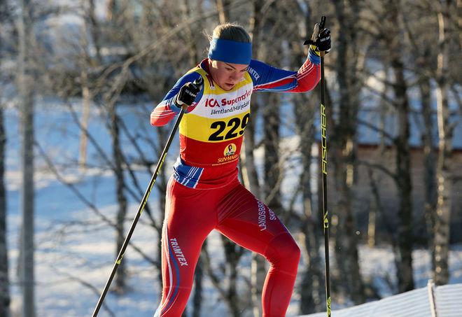 STÖRSTA UTROPSTECKNET i damjuniorernas sprint var förstaårsjunioren Moa Hansson från Landsbro IF i Småland. Vann prologen och var tvåa i finalen. Foto/rights: KJELL-ERIK KRISTIANSEN/KEK-photo