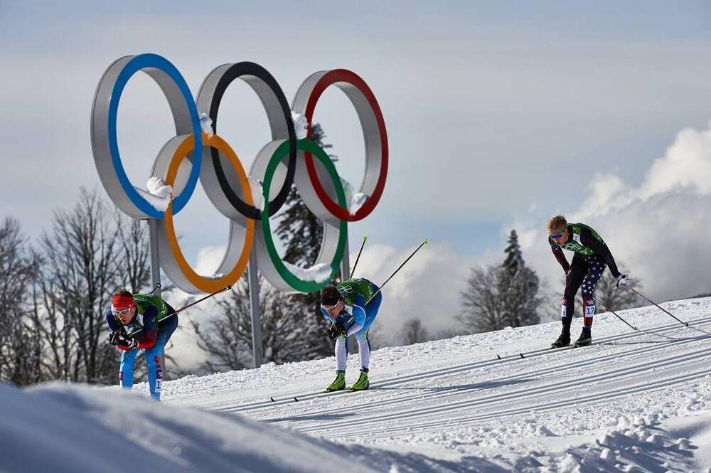 19.02.2014, Sochi, Russia (RUS): Nikita Kriukov (RUS), Sami Jauhojaervi (FIN), Erik Bjornsen (USA), (l-r)- XXII. Olympic Winter Games Sochi 2014, cross-country, team sprint, Sochi (RUS). www.nordicfocus.com. © NordicFocus. Every downloaded picture is fe