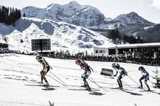 19.02.2017, Hochfilzen, Austria (AUT):Laura Dahlmeier (GER), Gabriela Koukalova (CZE), Marie Dorin Habert (FRA), (l-r) - IBU world championships biathlon, mass women, Hochfilzen (AUT). www.nordicfocus.com. © NordicFocus. Every downloaded picture is fee-