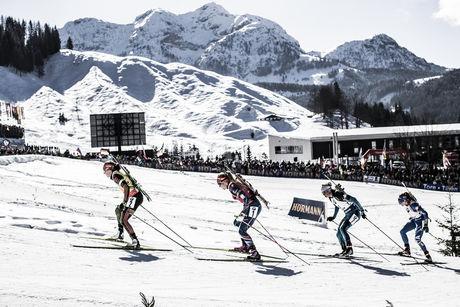 19.02.2017, Hochfilzen, Austria (AUT):Laura Dahlmeier (GER), Gabriela Koukalova (CZE), Marie Dorin Habert (FRA), (l-r) - IBU world championships biathlon, mass women, Hochfilzen (AUT). www.nordicfocus.com. © NordicFocus. Every downloaded picture is fee-