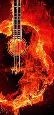 Brennende gitar illustrasjon bilde