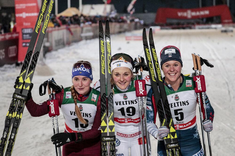 24.11.2017, Ruka, Finland (FIN):Yulia Belorukova (RUS), Stina Nilsson (SWE), Sadie Bjornsen (USA), (l-r)  - FIS world cup cross-country, individual sprint, Ruka (FIN). www.nordicfocus.com. © Modica/NordicFocus. Every downloaded picture is fee-liable.