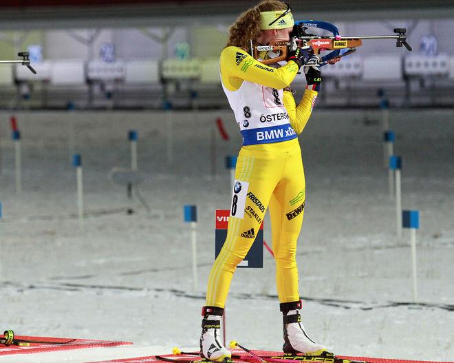 HANNA ÖBERG slutade 5:a i masstarten i världscupen i skidskytte i finska Kontiolahti. Foto: THORD ERIC NILSSON