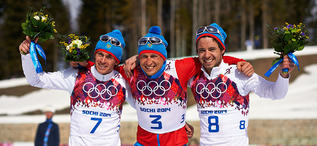 23.02.2014, Sochi, Russia (RUS): Maxim Vylegzhanin (RUS), Alexander Legkov (RUS), Ilia Chernousov (RUS), (l-r)- XXII. Olympic Winter Games Sochi 2014, cross-country, 50km men, Sochi (RUS). www.nordicfocus.com. © NordicFocus. Every downloaded picture is