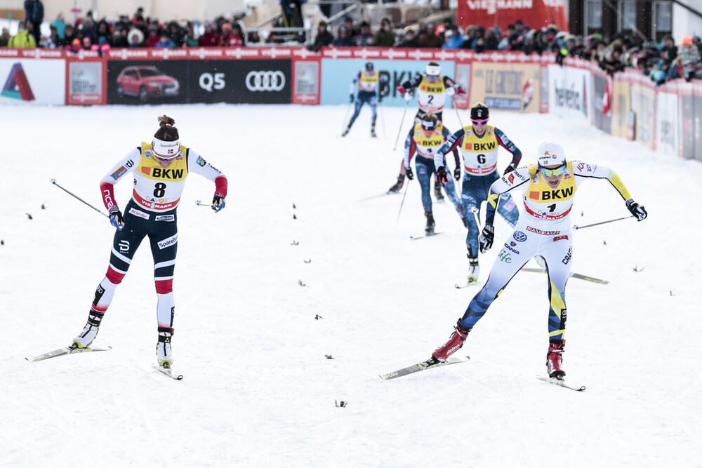 09.12.2017, Davos, Switzerland (SUI):Stina Nilsson (SWE), Maiken Caspersen Falla (NOR), (l-r)  - FIS world cup cross-country, individual sprint, Davos (SUI). www.nordicfocus.com. © Modica/NordicFocus. Every downloaded picture is fee-liable.