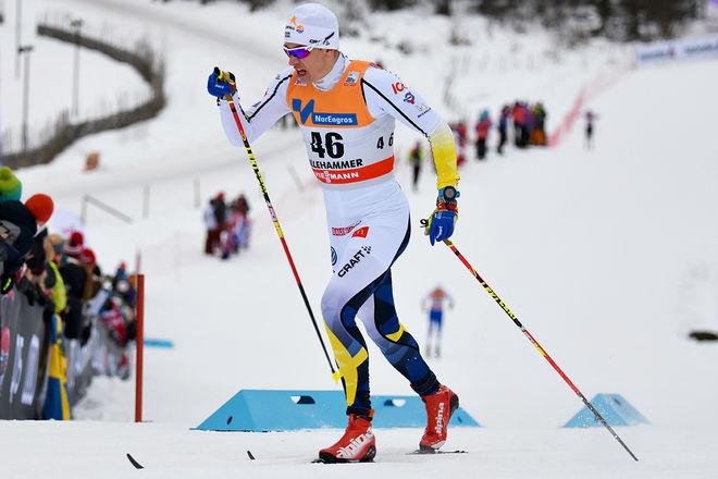 ANTON PERSSON, SK Bore är rankad bland dom tio bästa sprintåkarna i U23-klassen i världen. Här från världscupen i Lillehammer. Foto: ROLF ZETTERBERG