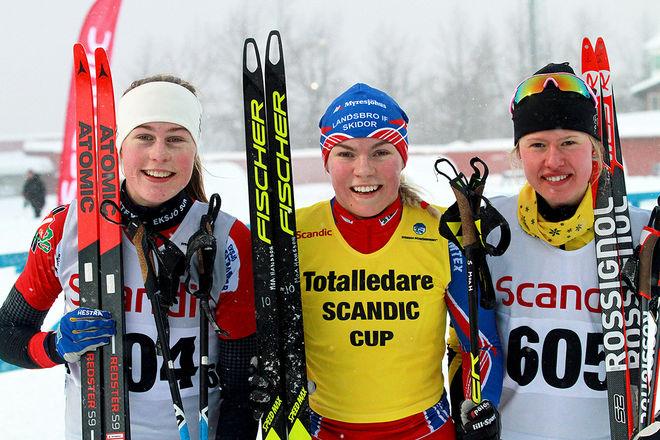 MOA HANSSON, Landsbro (mitten) är i en säker ledning i D17-18 i Scandic Cup. Tvåa i sprinten i Östersund var Tilda Östberg, Stora Tuna (höger) och Småland också på tredje genom segrarinnan i distansloppet, Eksjös Hanna Abrahamsson. Foto: THORD ERIC NILSSON