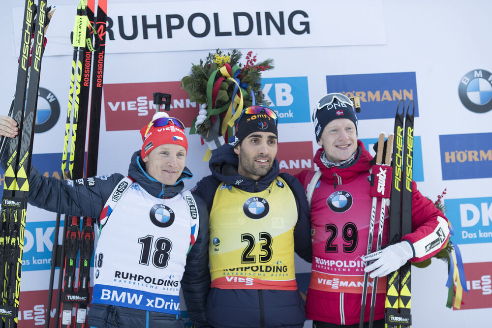 10.01.2018, Ruhpolding, Germany (GER):Ondrej Moravec (CZE), Martin Fourcade (FRA), Johannes Thingnes Boe (NOR), (l-r) -  IBU world cup biathlon, individual men, Ruhpolding (GER). www.nordicfocus.com. © Manzoni/NordicFocus. Every downloaded picture is fe