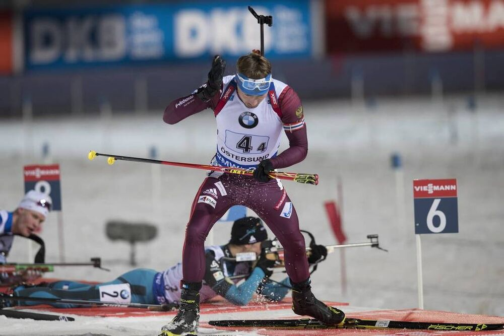 26.11.2017, Oestersund, Sweden, (SWE):Anton Shipulin (RUS) - IBU world cup biathlon, relay mixed, Oestersund (SWE). www.nordicfocus.com. © Manzoni/NordicFocus. Every downloaded picture is fee-liable.