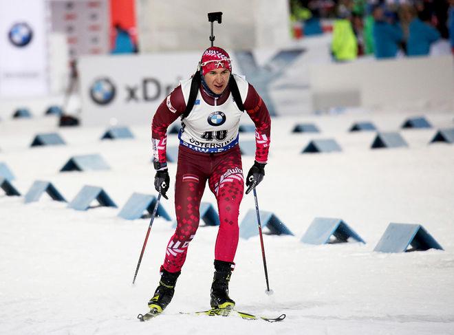 ANDREJS RASTORGUJEVS från Lettland vann EM-sprinten i skidskytte i Ridnaun i Italien. Han var en av OS-åkarna som använde EM som träning inför Pyeongchang. Foto/rights: MARCELA HAVLOVA/KEK-stock