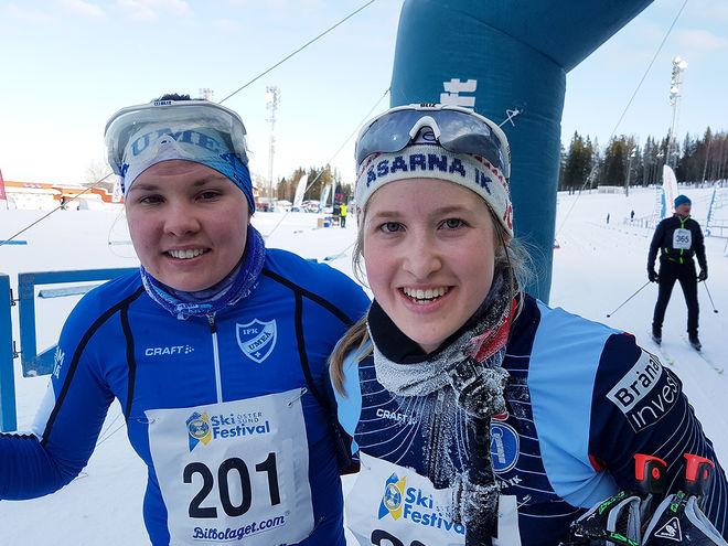 FRIDA HALLQUIST, Åsarn (th) vann damklassen och åkte ifrån Sofie Elebro, IFK Umeå (tv) på slutet. Foto: THORD ERIC NILSSON