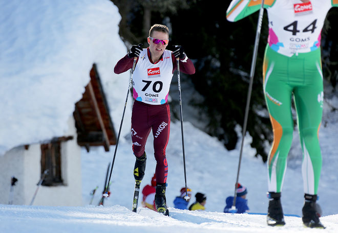 FAVORITEN Denis Spitsov fixade ryskt guld också i herrarnas skiathlon-tävling på U23-VM i schweiziska Goms under fredagen. Foto/rights: KJELL-ERIK KRISTIANSEN/KEK-stock