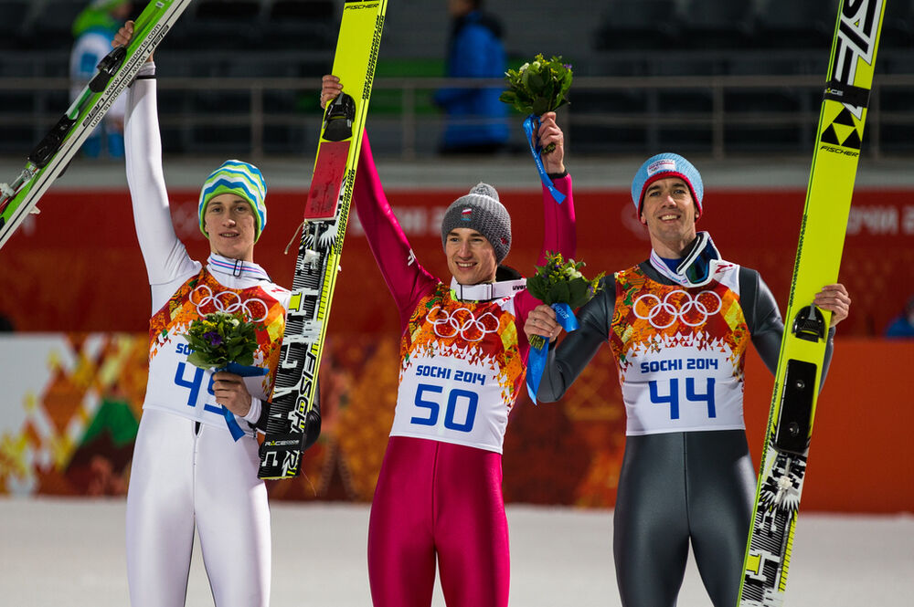 09.02.2014, Sochi, Russia (RUS): (l-r) Peter Prevc (SLO), Kamil Stoch (POL), Fischer and Anders Bardal (NOR), Fischer- XXII. Olympic Winter Games Sochi 2014, ski jumping, individual HS106, Sochi (RUS). www.nordicfocus.com. © NordicFocus. Every downloade