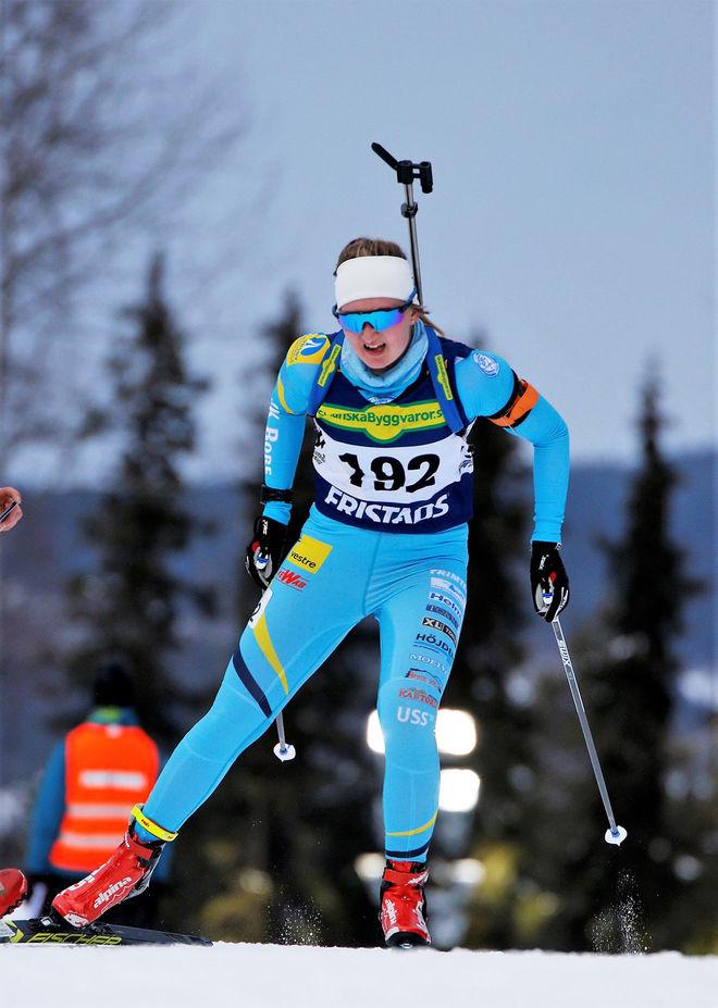 EMMA NILSSON fick inte åka med till OS i Korea, men istället vann Bore-åkaren SM-guldet i masstart i Östersund. Foto: HÅKAN BLIDBERG