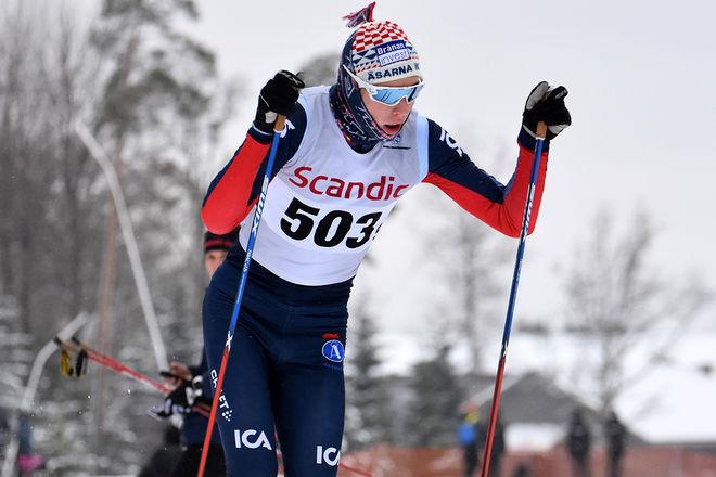 WILLIAM POROMAA, Åsarna vann H17-18-klassen efter att han fått en liten lucka på Pål Jonsson och Jonathan Norder före avslutningen. Foto: ROLF ZETTERBERG