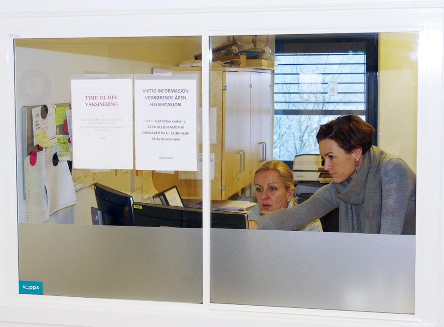 Bilde av resepsjonen ved helsestasjonen i Ås sentrum