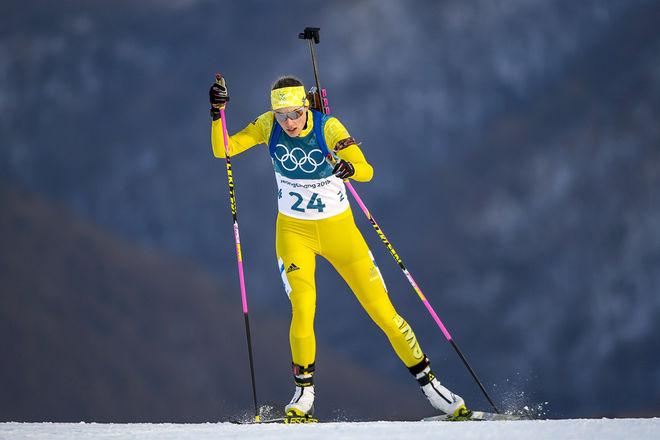 HANNA ÖBERG på väg mot det sensationella OS-guldet på distans i Pyeongchang. Foto: NORDIC FOCUS